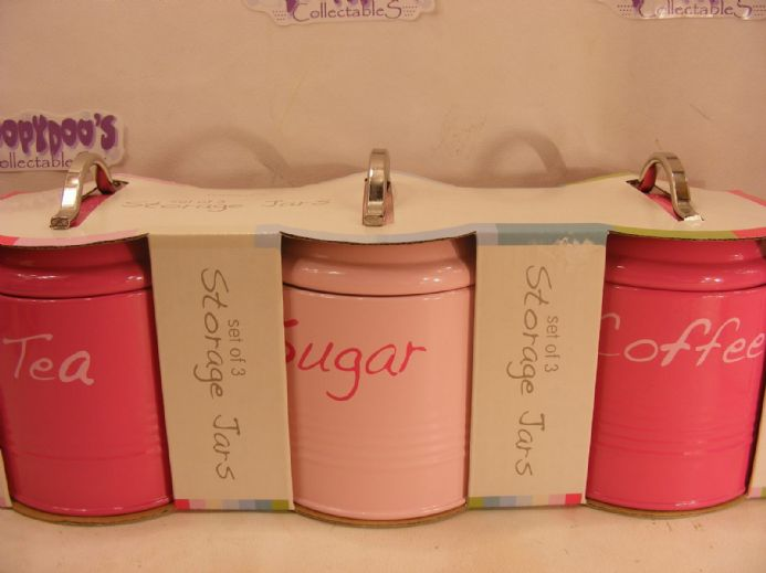 BNIB SET OF 3 PINK KITCHEN CANISTERS - COFFEE,TEA,SUGAR